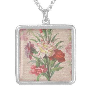 Claveles del vintage con el fondo floral de la colgante cuadrado