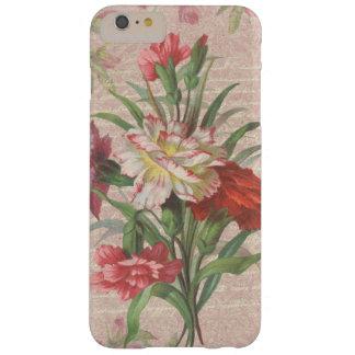 Claveles del vintage con el fondo floral de la funda para iPhone 6 plus barely there