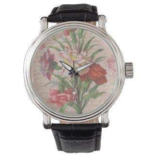 Claveles del vintage con el fondo floral de la relojes