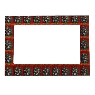 Claveles en un florero de cristal marcos magneticos