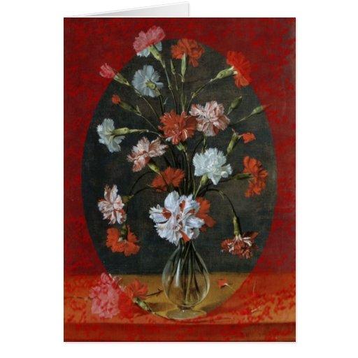Claveles en un florero de cristal tarjeta de felicitación