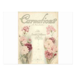 claveles imprimibles ephemera.jpg del vintage tarjeta postal