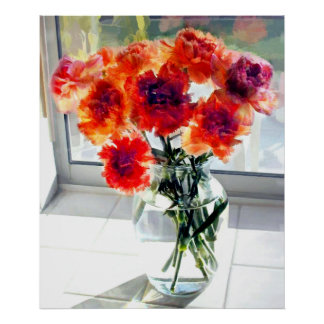 Claveles mezclados en ventana soleada posters