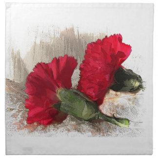 Claveles rojos en el brocado servilleta de papel