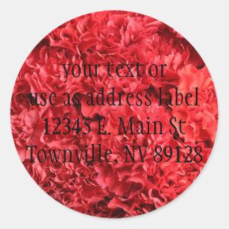 Claveles rojos rojos pegatina redonda