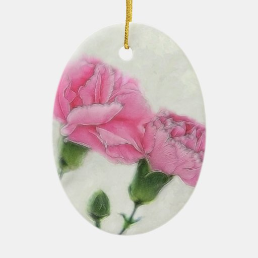 Claveles rosados 3 adorno ovalado de cerámica