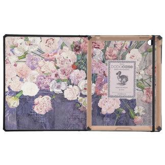 Claveles rosados en una cesta iPad coberturas