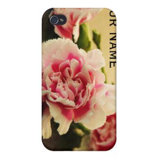 Claveles rosados y su nombre personalizados iPhone 4/4S carcasa