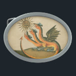 "Clavis Artis Alchemy Dragons Belt Buckle<br><div class=""desc"">Three-headed dragon with wings and long forked tail, facing the gold sunshine. Alchemists through the ages have communicated their secrets with symbols to protect the occult ingredients to a select group of philosophers and early scientists by using symbolism to veil the formula for chemical processes to transmute base metals like...</div>"