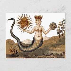 Clavis Artis postcard Merman with three faces postcard