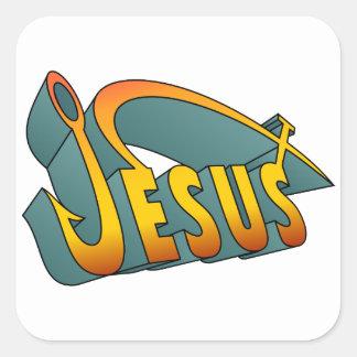 Clavo de los pescados de Jesús Pegatina Cuadrada