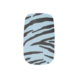 Clavos de la moza descarada (cebra azul clara) pegatina para manicura