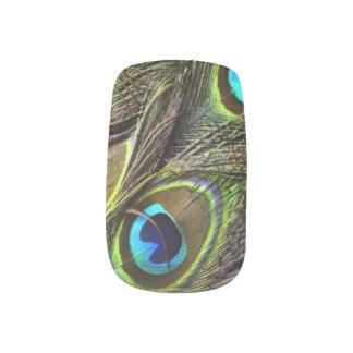 Clavos realistas de la pluma del pavo real stickers para uñas
