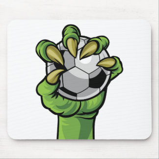 Claw Monster Hand Holding a Soccer Ball Mouse Pad