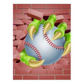 Claw with Baseball Ball Breaking Through Brick Wal Postcard