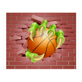 Claw with Basket Ball Breaking Through Brick Wall Postcard