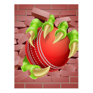 Claw with Cricket Ball Breaking Through Brick Wall Postcard