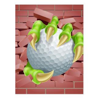 Claw with Golf Ball Breaking Through Brick Wall Postcard
