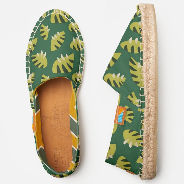 Abstract green leaf pattern espadrilles at Zazzle, great for a nature lover.