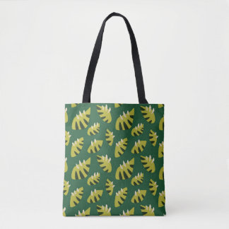 Clawed Abstract Green Leaf Pattern Tote Bag