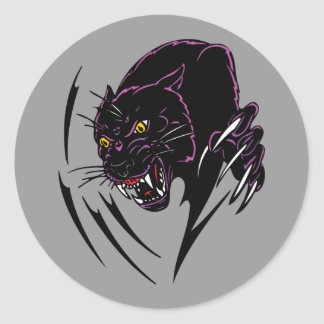 Clawing Panther Classic Round Sticker