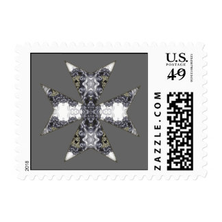 Claws and Fangs Cross Kaleidoscope Mandala Postage