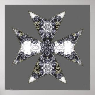 Claws and Fangs Cross Kaleidoscope Mandala Posters