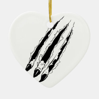 Claws Ripping Paper Ceramic Ornament