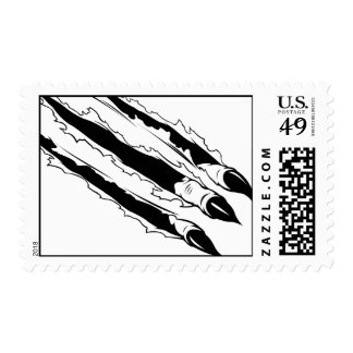 Claws Ripping Paper Postage Stamp