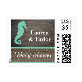 Clay And Burlap Seahorse Postage Stamp