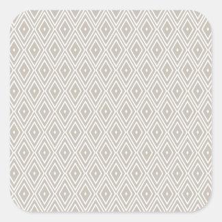 Clay and White Diamond Pattern Square Sticker
