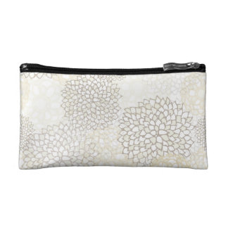 Clay and White Flower Burst Design Cosmetic Bag