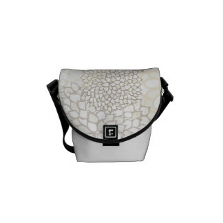 Clay and White Flower Burst Design Courier Bag