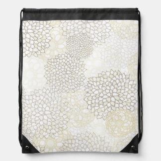Clay and White Flower Burst Design Drawstring Backpack