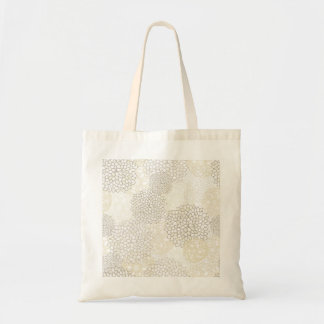 Clay and White Flower Burst Design Tote Bag