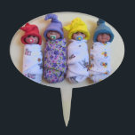"Clay Babies, Elf Hats, Sleeping, Swaddled, Cute Cake Topper<br><div class=""desc"">These little babies have been created by me with polymer clay; they come entirely from my own imagination and hands.  My babies wear colorful,  elf-like hats; some have soothers and others do not.</div>"
