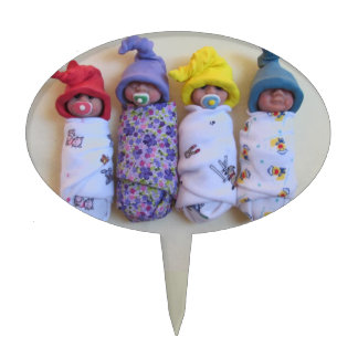 Clay Babies, Elf Hats, Sleeping, Swaddled, Cute Cake Topper