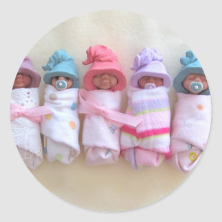Clay Babies, Elf Hats, Sleeping, Swaddled, Cute Classic Round Sticker