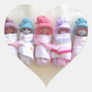 Clay Babies, Elf Hats, Sleeping, Swaddled, Cute Heart Sticker