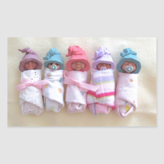 Clay Babies, Elf Hats, Sleeping, Swaddled, Cute Rectangular Sticker