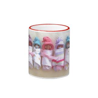 Clay Babies, Elf Hats, Sleeping, Swaddled, Cute Ringer Mug