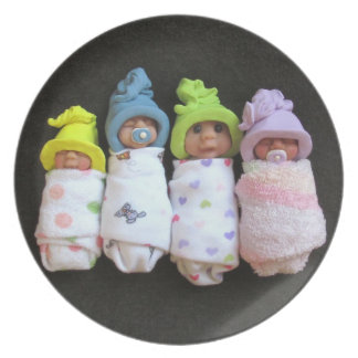 Clay Babies: Polymer Clay Sculptures Melamine Plate