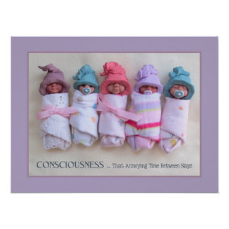 Clay Babies: Sculptures, with Funny Quote, Naps Poster