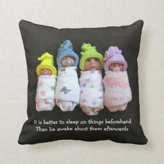 Clay Babies With Proverb about Regrets Throw Pillow