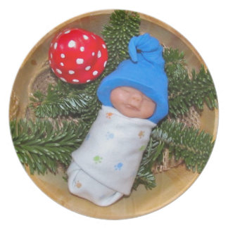 Clay Baby Elf with Hat: Toadstool, Sculpture Melamine Plate