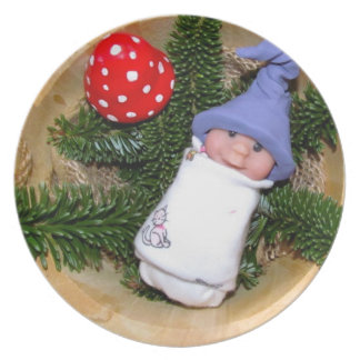 Clay Baby Elf with Hat: Toadstool, Sculpture Party Plate