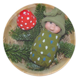 Clay Baby Elf with Hat: Toadstool, Sculpture Party Plates