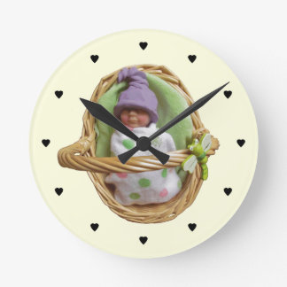 Clay Baby in Basket: Nursery: Sculpture, Hearts Round Clock