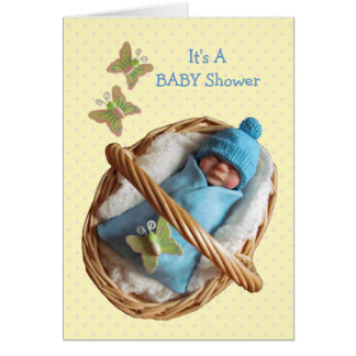 Clay Baby Sleeping in Basket: Blue, Yellow, Shower Card