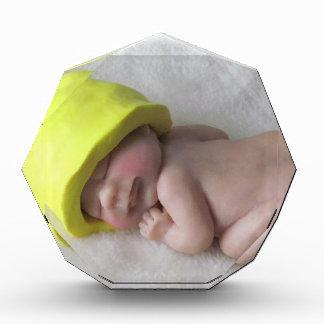 Clay Baby Sleeping on Tummy, Elf Hat, Sculpture Acrylic Award